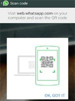 Scan QR code for whatsapp web