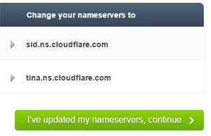 update name server of cloudflare