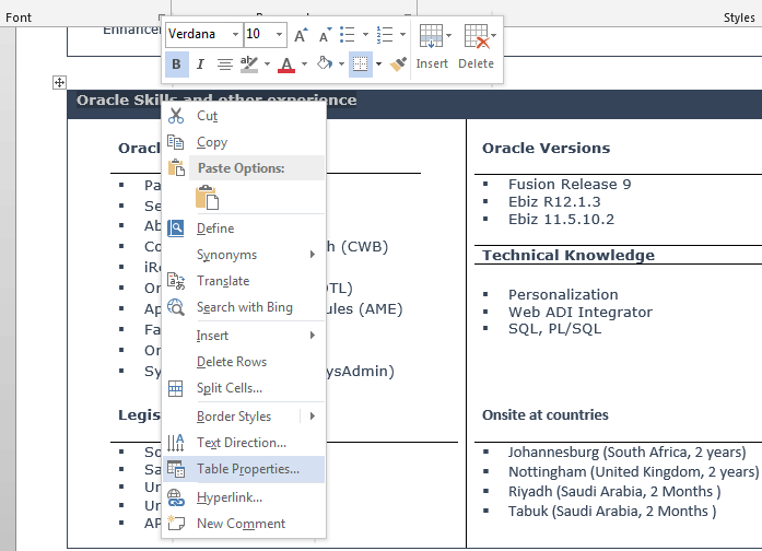 How to change table header color in microsoft word for Table header
