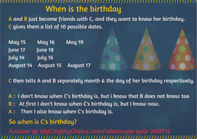Whatsapp Quiz : When is the birthday