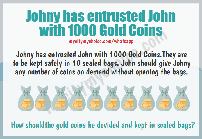 Johny has entrusted John with 1000 Gold Coins
