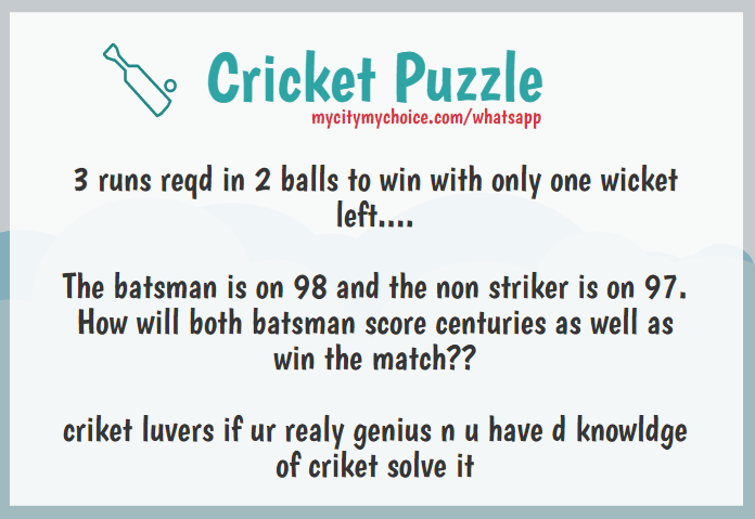 Cricket Puzzle : 3 runs reqd in 2 balls to win