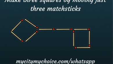 Make three squares by moving just three matchsticks