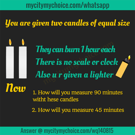 You are given two candles of equal size