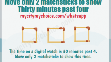 Move only 2 matchsticks to show Thirty minutes past four