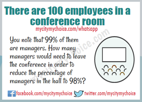 There are 100 employees in a conference room