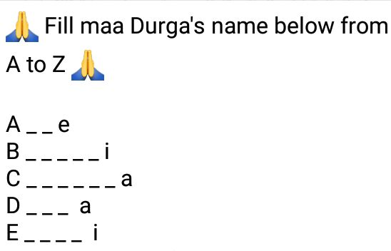 Fill maa Durga's name below from A to Z