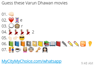Guess these Varun Dhawan movies - Whatsapp Puzzle