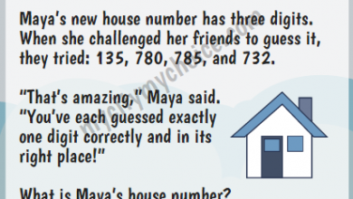 """Maya's new house number has three digits. When she challenged her friends to guess it, they tried: 135, 780, 785, and 732. """"That's amazing,"""" Maya said. """"You've each guessed exactly one digit correctly and in its right place!"""" What is Maya's house number?"""