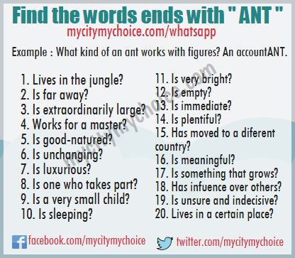 "Find the words ends with "" ANT "" - Whatsapp Puzzle"
