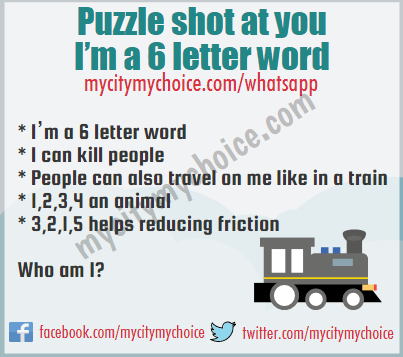 Puzzle shot at you I'm a 6 letter word - Whatsapp Puzzle