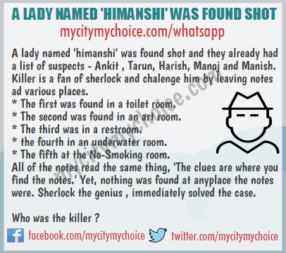 A LADY NAMED 'HIMANSHI' WAS FOUND SHOT - Whatsapp Puzzle