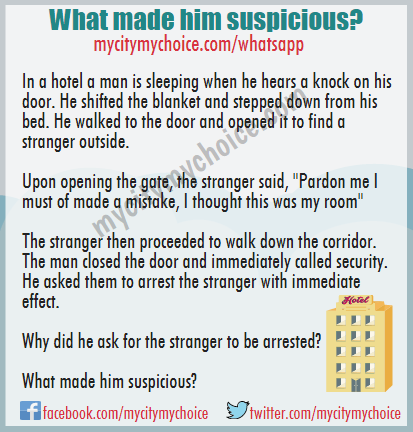 What made him suspicious? whatsapp puzzle answer