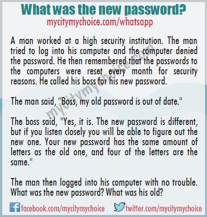 What was the new password? Whatsapp Puzzle