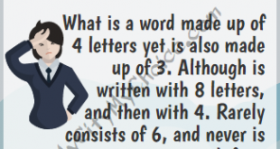What is a word made up of 4 letters - Whatsapp Puzzle