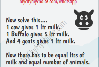 Now there has to be equal ltrs of milk and equal number of animals - Whatsapp Puzzle