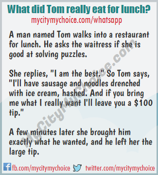 What did Tom really eat for lunch? - Whatsapp Puzzle