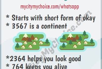 * Starts with short form of okay * 3567 is a continent *2364 helps you look good * 764 keeps you alive
