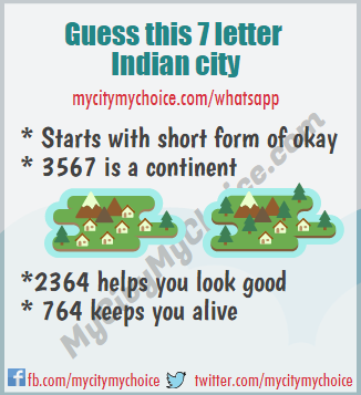 Guess this 7 letter Indian city | Whatsapp Puzzle Answer