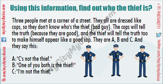 """Three people met at a corner of a street. They all are dressed like cops, so they don't know who's the thief (bad guy). The cops will tell the truth (because they are good), and the thief will tell the truth too to make himself appear like a good cop. They are A, B and C. And they say this: A:""""C's not the thief."""" B:""""One of you both is the thief!"""" C:""""I'm not the thief."""" Using this information, find out who the thief is?"""