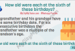 Puzzle : A grandfather and his grandson have the same birthday date. For six consecutive birthdays the grandfather was a multiple of the grandson's age. How old were each at the sixth of these birthdays?