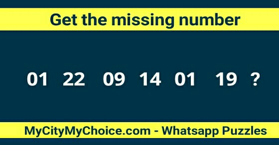 Get the missing number 01 22 09 14 01 19 ?
