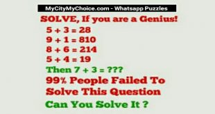 SOLVE, If your are a genius! 5 + 3 = 28 9 + 1 = 810 8 + 6 = 214 5 + 4 = 19 Then 7 + 3 =??? 90% People Failed To Solve This Question Can you solve this?
