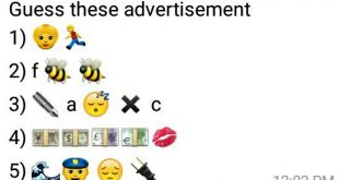 Guess these advertisement 1) 👵🏃 2) f 🐝 🐝 3) ✒ a 😴 ✖ c 4) 💴💵💷💶💋 5) 🌊👮 😔 🔌