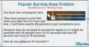 You have two rectangular bars. They have property such that when you light the fire from one end , it will take exactly 60 seconds to get completely burn. However they do not burn at consistent speed (i.e it might be possible that 40 percent burn in 55 seconds and next 60 percent can burn in 10 seconds). How do you measure 45 seconds ?