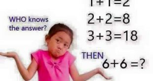 Who knows the answer? IF 1 + 1 = 2 2 + 2 = 8 3 + 3 = 18 THEN 6 + 6 =?