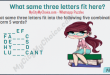 What same three letters fit into the following five combinations to form 5 words? _ _ _ E F F A _ _ _ C D E _ _ _ S H Y _ _ _ D L U _ _ _ C A N T