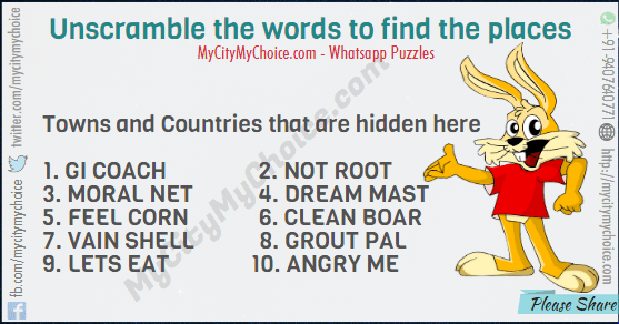 unscramble the words to find the placestowns and countries that are hidden there