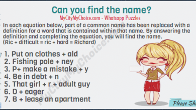 In each equation below, part of a common name has been replaced with a definition for a word that is contained within that name. By answering the definition and completing the equation, you will find the name. (Ric + difficult = ric + hard = Richard) Put on clothes + ald Fishing pole + ney P+ make a mistake + y Be in debt + n That girl + r + adult guy D + eager B + lease an apartment