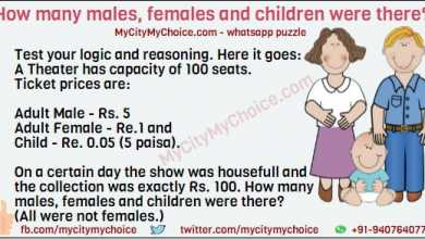Test your logic and reasoning. Here it goes: A Theater has capacity of 100 seats. Ticket prices are: Adult Male - Rs. 5 Adult Female - Re.1 and Child - Re. 0.05 (5 paisa). On a certain day the show was housefull and the collection was exactly Rs. 100. How many males, females and children were there? (All were not females.)