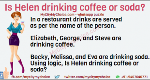 In a restaurant drinks are served as per the name of the person. Elizabeth, George, and Steve are drinking coffee. Becky, Melissa, and Eva are drinking soda. Using logic, Is Helen drinking coffee or soda?
