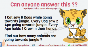 Can anyone answer this ?? 1 Cat saw 6 Dogs while going towards jungle. Every Dog saw 2 Ape going towards jungle. Every Ape holds 1 Crow in their hands. Find out how many animals are going towards jungle ?
