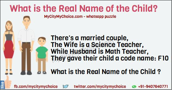 There's a married couple, The Wife is a Science Teacher, While Husband is Math Teacher, They gave their child a code name: F10 What is the Real Name of the Child ?