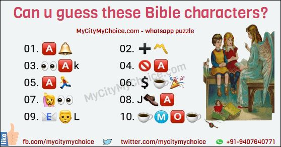 Can u guess these Bible characters? 01. 🅰🔔 02. ➕〽 03. 👀🅰k 04. 🚫🅰 05. 🅰🏃 06. 💲☕🎉 07. 🙋👀 08. J👞🅰 09. 📧👨L 10. ☕Ⓜ🅾☕
