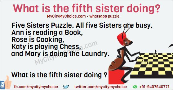 Five Sisters Puzzle. All five Sisters are busy. Ann is reading a Book, Rose is Cooking, Katy is playing Chess, and Mary is doing the Laundry. What is the fifth sister doing?