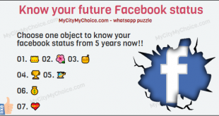 Know your future Facebook status Choose one object to know your facebook status from 5 years now!! 👑 🌺 🍯 🏆 🚁 💰 💝