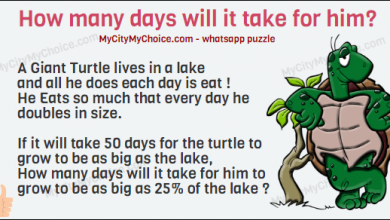 A Giant Turtle lives in a lake and all he does each day is eat ! He Eats so much that every day he doubles in size. If it will take 50 days for the turtle to grow to be as big as the lake, How many days will it take for him to grow to be as big as 25% of the lake ?