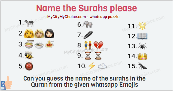 QUIZTIME! Name the Surahs please: Can you guess the name of the surahs in the Quran from the given whatsapp Emojis 1.🐄 2.👩👩🏼👩🏻 3.🍜🍲🍝 4.🐝 5.👹 6.🐘 7.🖊 8.👫💔 9.⌛⌛ 10.⚡☁ 11.🌟 12.📖 13.🕷 14.👑 15.🐜 Share with your family and friends to see if they can guess the name of the Surahs