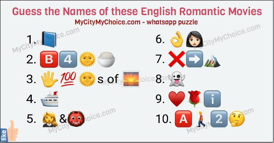 Guess the Names of these English Romantic Movies