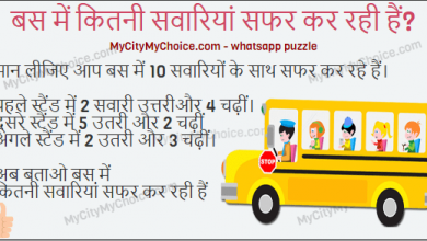 hindi puzzle bus me kitane log safar kar rahe hain