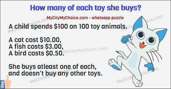 A child spends $100 on 100 toy animals.  A cat cost $10.00, A fish costs $3.00,  A bird costs $0.50.  She buys atleast one of each, and doesn't buy any other toys.