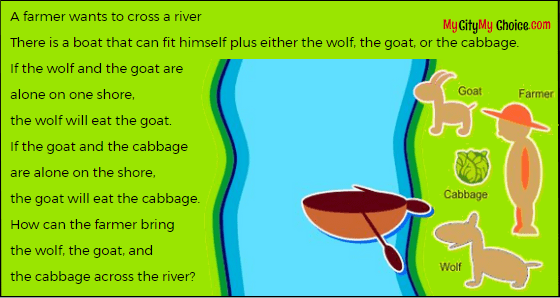 How can the farmer help wolf, goat and cabbage across the river