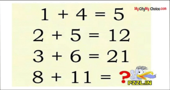 IF 1 + 4 = 5 THEN 8 + 11 = ?
