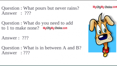 What pours but never rains? Answer: A flask, a jug What do you need to add to 1 to make none? Answer: N (n + one = none) What is in between A and B?