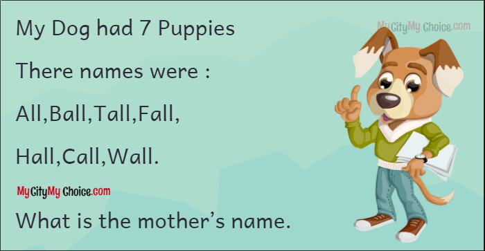 My Dog had 7 Puppies There names were : All,Ball,Tall,Fall, Hall,Call,Wall. What is the mother's name.