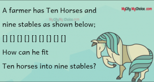 A farmer has Ten Horses and nine stables as shown below; [] [] [] [] [] [] [] [] [] How can he fit Ten horses into nine stables?
